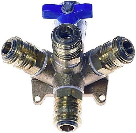 G 1//2i KDT Multiverteiler EVM 15-4 AM Druckluftwanddose Luftverteiler Messing Kupplungen NW 7,2 mm Kugelhahn