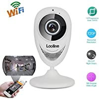 Looline 180° Panoramic IP Camera Wide Angle View Fisheye Security Camera 720P with 2-Way Audio IR Night Vision Motion Detection Home Wireless Surveillance Baby/Pet Monitor (White)