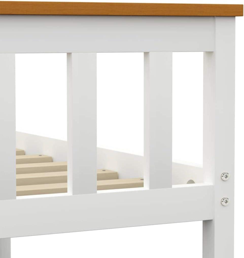 vidaXL Madera Maciza de Pino Estructura de Cama Matrimonio Doble Blanca 160x200 cm Somier Muebles de Dormitorio Habitaci/ón