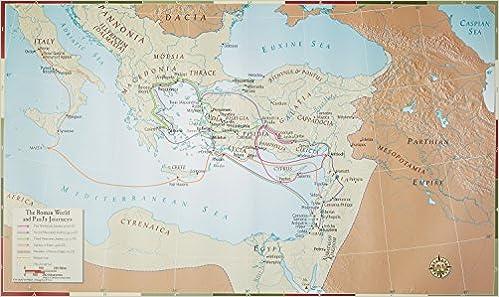 Abingdon Bible Land Map The Roman World And Paul S Journeys