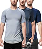 DEVOPS Men's 3 Pack Cool Chain Sports Active Hyper-Dry Workout Short Sleeve T-Shirts (Medium, Charcoal/Navy/Steel)