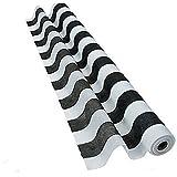 Striped Black & White Gossamer Roll 100 FT X 3 FT Wedding Aisle Decoration Table Cover NEW