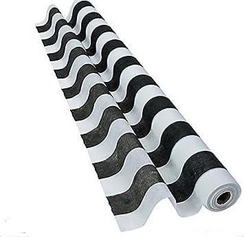 Striped Black U0026 White Gossamer Roll 100 FT X 3 FT Wedding Aisle Decoration Table  Cover