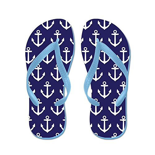 CafePress Fun Anchor Navy and White - Flip Flops, Funny Thong Sandals, Beach Sandals Caribbean Blue
