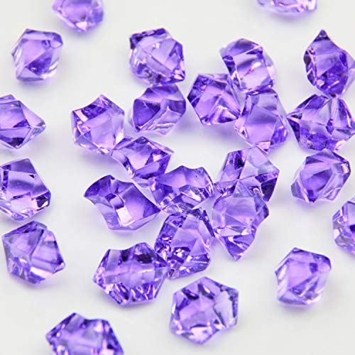 (Purple Acrylic Ice Rock Crystals Treasure Gems for Table Scatters, Vase Fillers, Wedding, Banquet, Party, Event, Birthday Decoration (Purple 150))