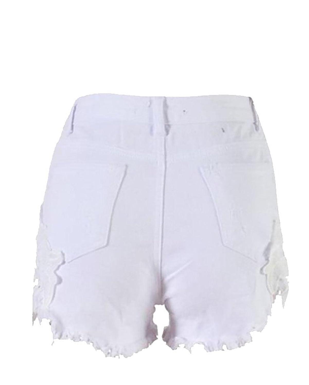 Wholesale desolateness Womens Lace Stitching Retro Ripped Hole Loose Cowboy Low Waist Shorts M White supplier