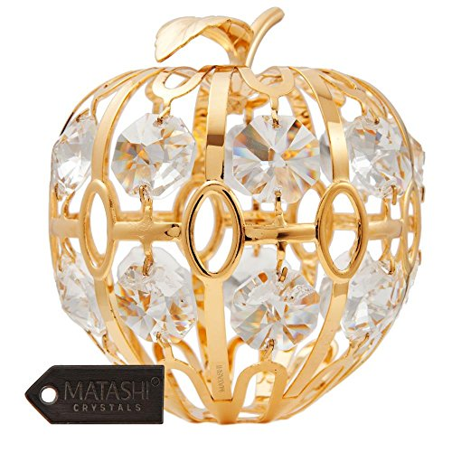 24K Gold Plated Crystal Studded Apple Ornament by Matashi