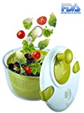 Salad Spinner Large 5 Quarts Fruits and Vegetables Dryer Quick Dry Design BPA Free Dry off and Drain Lettuce and Vegetable with Ease for Tastier Salads and Faster Food Prep
