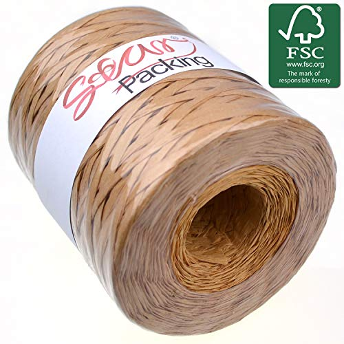 (Star Packing Paper Twine 218 Yard Giant Roll | Kraft Matte Paper Ribbon 93 Colors Available | 3/16 Inch Width Paper Raffia Roll, Kraft Color)