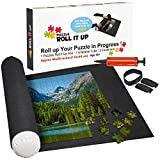 "Toys : Puzzle Roll Up Mat - Store and Transport Jigsaw Puzzles Up To 1500 Pieces - 46"" x 26"" Felt Mat, Inflatable Tube, and 3 Elastic Fasteners - Plus Bonus Pump - by Nessies's Playground"