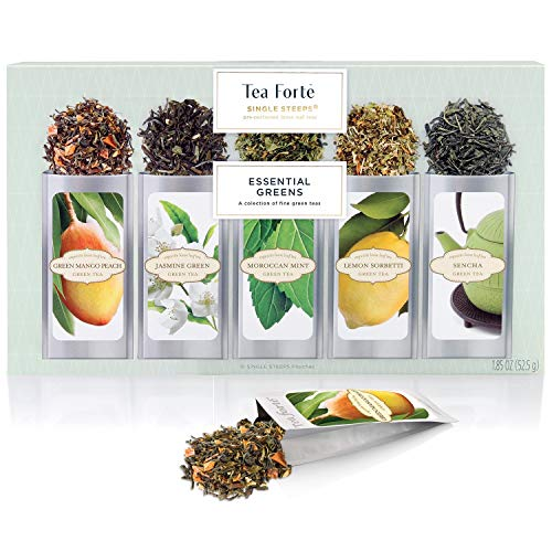 Tea Forté SINGLE STEEPS Essential Greens Organic Green Tea Loose Leaf Tea Sampler, Assorted Tea Variety Pack, 15 Single Serve Pouches