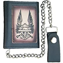 Trifold Leather Chain Wallet with Tooled Motorcycle Logo