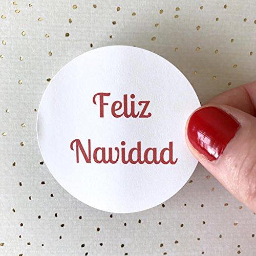 40 Feliz Navidad Merry Christmas Sticker | Christmas Card Seal Holiday Party Circle Round Envelope Label Mail, Packaging Thank You Bag Sticker Gift Tag (Feliz Navidad Gift)