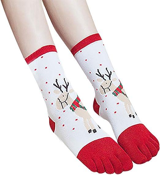 Calcetines de algodón Estampado navideño de 5 Dedos CZJJJ.: Amazon ...