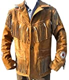 Coolhides Men's Cowboy Leather Jacket Beads, Fringes and Bones