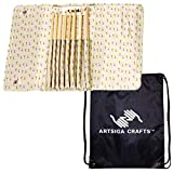 addi Crochet Hook Click Bamboo Interchangeable System Bundle with 1 Artsiga Crafts Project Bag