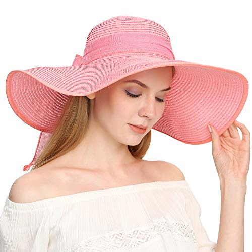 Roniky Womens Wide Brim Bowknot Beach Hat Floppy Foldable Straw Sun Hat UPF 50+