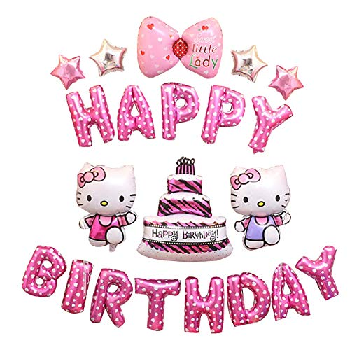 Color Zebra Hellokitty Birthday Decorations Party Decoration Supplies Happy Birthday Balloons Banner Birthday Party Favors for Kids or Girls (Pink) ()