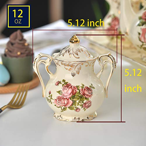 YOLIFE Sugar and Creamer Bowl Ceramic Set with Red Rose Pattern Golden Leaves Edge by YOLIFE (Image #1)