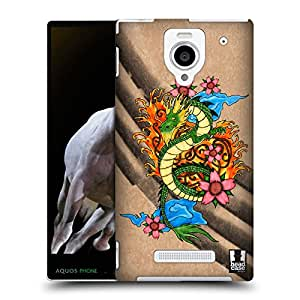 Head Case Designs Zhulong Tattoo Inspired Chinese Dragons Protective Snap-on Hard Back Case Cover for Sharp Aquos Xx 302SH LTE