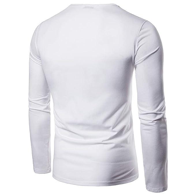 Hombres Camiseta De Manga Larga, ZARLLE Sudadera con Capucha Blusa Tops Chaqueta Outwear Abrigo RasguñOs Empalme Trajes Casual Crew Neck Long Sleeve Design ...