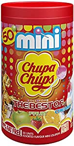 Chupa Chups Best of Mini Tube, 50 Small Lollipops, Ideal Treat for Sharing, Party Bags and Halloween, 300 g