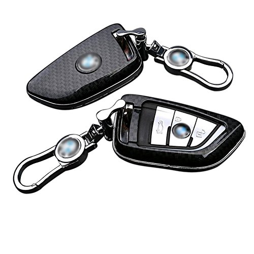 Auto Smart FOB Remote Key Case Cover Bag Protection Shell Key Chain Fit For BMW Series 2 New X5 X6 Car Remote Key Bag (CARBON FIBER STYLE)