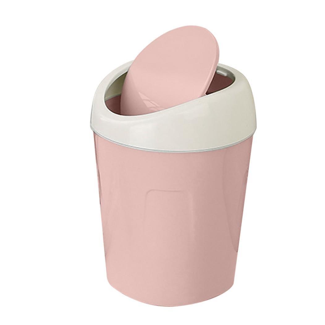 YJYdada Trumpet Desktops Mini Creative Covered Kitchen Living Room Trash Can (Pink)