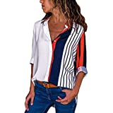 BCDshop Women Fancy Long Sleeve Shirts Block Stripe Button Down Tops Blouse (White, XL)