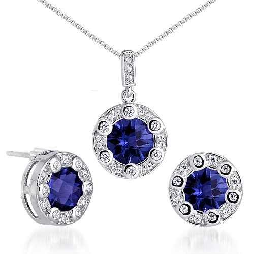 Created Sapphire Pendant Earrings Necklace Sterling Silver Rhodium Nickel Finish Round Shape 7.75 Carats by Peora