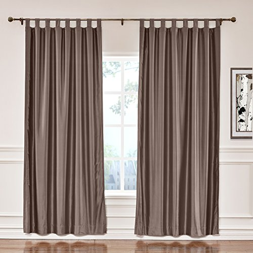 ChadMade Elegant Vintage Polyester Cotton Silk Thermal Insulated Curtain Brown 120