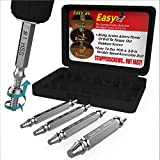 Damaged Screw Extractor and Remover Set by Aisxle,Easily Remove Stripped or Damaged Screws. Made From H.S.S. 4341#, the Hardness Is 6263hrc,Set of 4 Stripped Screw Removers