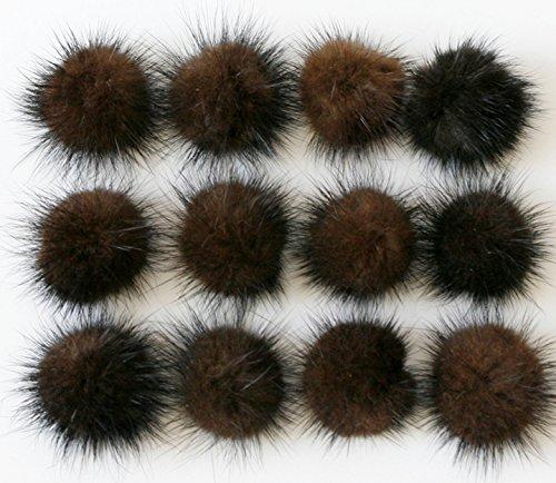 Natural dark brown mink fur pom pom Wholesale lot 12 pcs, 35mm Mink fur ball from Romantic Wedding