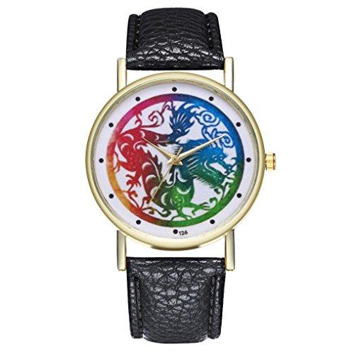 - Yeefant Colorful Dragon Pattern Trendy Student Lady Leather Band Analog Quartz Round Wrist Women's Fine Vintage Fashion Trend Belt Watch,Black