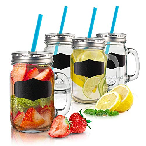 Chalkboard Mason Jars with Lids and Straws 17.5oz. - Set of 4 Retro Glass Mugs with Handles - Home and Party Drinkware for Water, Milkshake, Fruit Juice or Sangria -