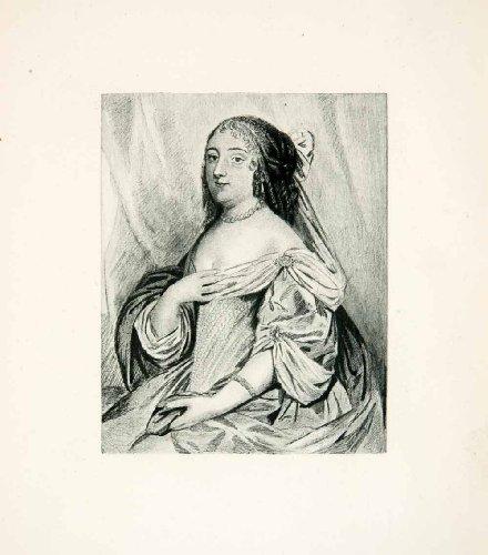 1893 Photogravure Duchess Saint-Simon 17th Century Portrait Dress Costume Art - Original Photogravure