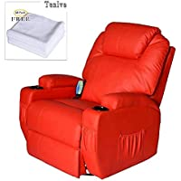 Tenive Deluxe Pu Leather 360 Degree Swivel Rocker Massage Recliner Sofa Chairs Lounge 8 Vibrating Nodes -Executive Heated w/ Control Back- Red