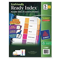Avery EcoFriendly Ready Index Table of Contents Dividers, 5-Tab, 3 Sets (11080)