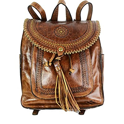 hot sale Patricia Nash Jovanna Distressed Leather Collection Tassel Cognac Backpack