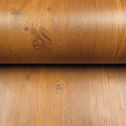 TaoGift Self Adhesive Textured Wood Grain Shelf Liner Contact Paper Peel and Stick Wallpaper Vinyl Film Door Sticker 24x117 Inches (Light ()