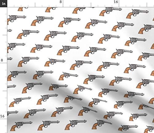 Gun Fabric - Gun Pistol Shoot Weapon Danger Wild West Gray Brown White Gun Pistol Western Revolver Shooting by Thinlinetextiles Printed on Linen Cotton Canvas Ultra Fabric by The Yard