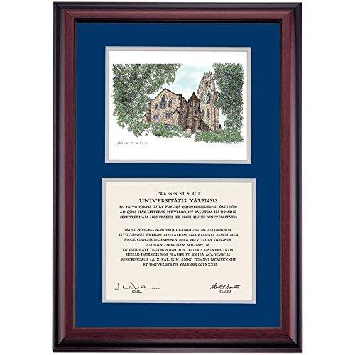 Campus Linens Yale Bulldogs Diploma Frame Blue Gray Matting Watercolor