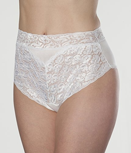 Women's White Lovely Lace Trim Incontinence Panties Large (Single)
