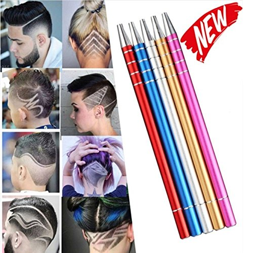 Multi-function Razor Pen Professional Design Hair Styling Eyebrow Beard Pen Shaving Engraved Pen With 10 Blades(Rose Red) by X-SPORT