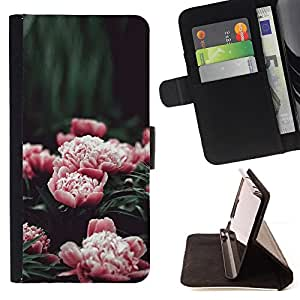 FLOWERS GARDEN BLOSSOMING PEONY PINK/ Personalizada del estilo del dise???¡Ào de la PU Caso de encargo del cuero del tir????n del soporte d - Cao - For Apple Iphone 4 / 4S