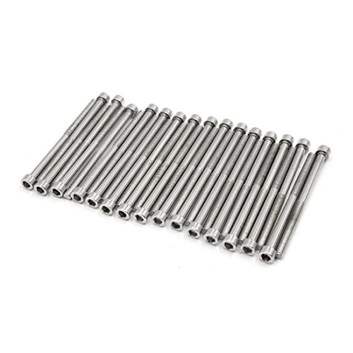 uxcell 30pcs Silver Tone Stainless Steel Motorcycle Hexagon Bolts Hex Screws M6 x 90 by uxcell