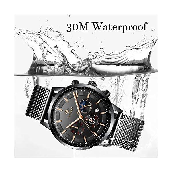 Men's Watches Fashion Analog Quartz Watch Date Business Chronograph Dress Luxury Brand Black Leather Wristwatch Gents Sport Waterproof Wristwatch 18