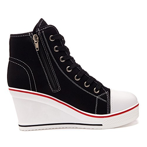 Boots Zipper Wedge Women's Lace up Canvas top Shoes Platforms High 629black Side qvW5WR0Agn