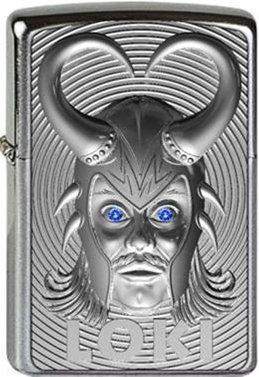 (Zippo Loki 3D Emblem with Blue Swarovski Element Protective Coating Windproof Lighter Chrome Brushed Platinum Finish, 1000, 6x 4x 2cm Silver)