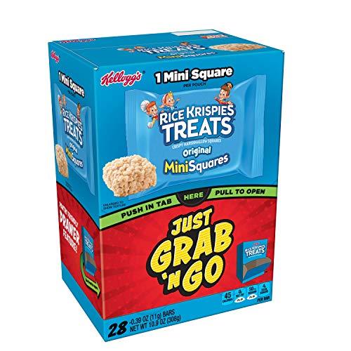 Rice Krispie Snacks - Kellogg's Rice Krispies Treats, Crispy Marshmallow Mini-Squares, Original, Grab 'N' Go, Caddy Box, 0.39 oz Bars(28 Count)